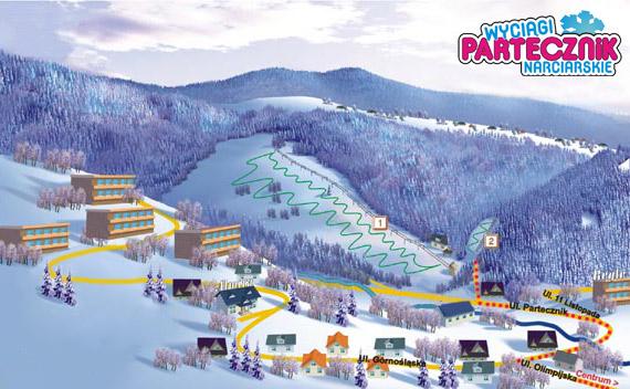 Mapa tras - wyciąg narciarski Partecznik Wisła